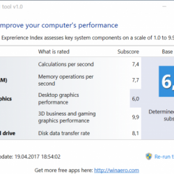 Индекс производительности Windows 10 программа